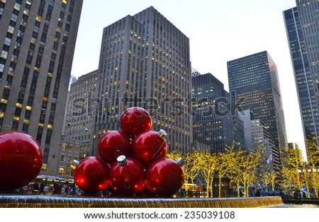 NEW YORK CITY - DECEMBER 5, 2014: Giant Christmas Ornaments in Midtown Manhattan on December 5, 2014, New York City, USA.