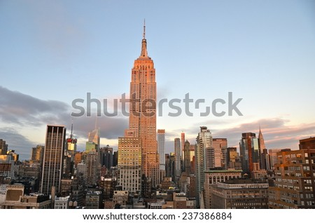 NEW YORK CITY - DECEMBER 12, 2014: New York City Manhattan midtown view with Empire State Building, New York City, USA.