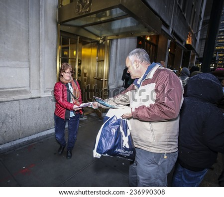 "NEW YORK CITY - DECEMBER 10 2014:Picture the Homeless, an advocacy group, staged a rally against the ""broken windows"" philosophy & NYPD commissioner William Bratton in front of the Manhattan Institute"
