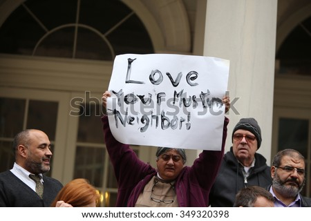 NEW YORK CITY - DECEMBER 9 2015: Speaker Melissa Mark-Viverito led an interfaith rally to denounce Donald Trump's call to ban Muslim entry into the US. - stock photo