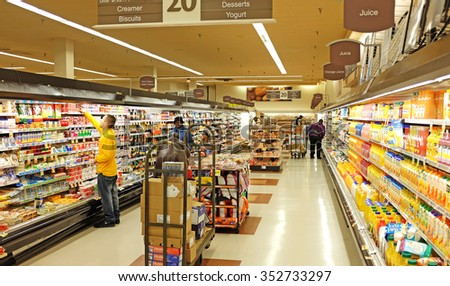 NEW YORK CITY - DECEMBER 16 2015: Stop & Shop, a retail grocer with 422 locations throughout the northeastern US, recently obtained a Pathmark grocery location in the Atlantic Avenue Mall, Brooklyn