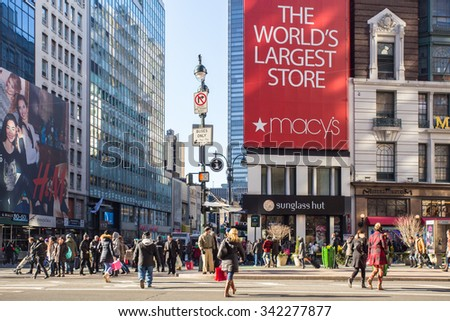 NEW YORK CITY - DECEMBER 12, 2013: Street view of Macy's Herald Square in midtown Manhattan at Christmas holiday crowd