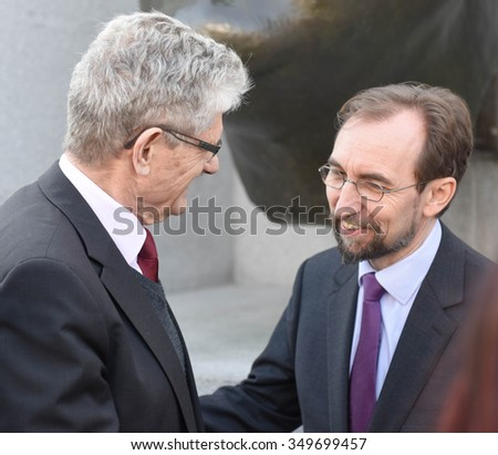 NEW YORK CITY - DECEMBER 10 2015: the 67th anniversary of the UN Univeral Declaration of Human Rights observed with laying of wreath at Four Freedoms. Zeid Ra'Ad Al Hussein with H E Mogens Lykketoft