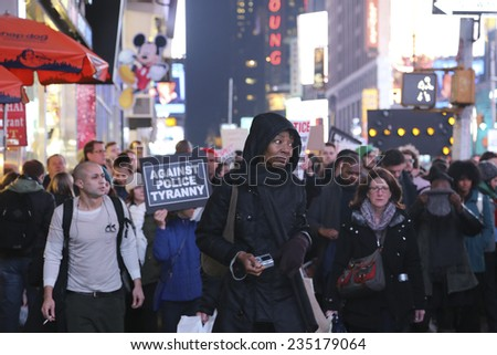 NEW YORK CITY - DECEMBER 3 2014:thousands of activists filled the streets of Manhattan after it was announced that the grand jury failed to indict NYPD officer Joe Pantaleo in the death of Eric Garner
