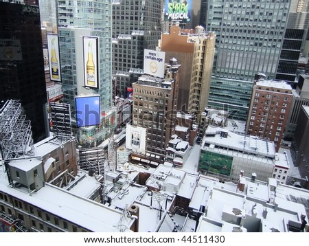 NEW YORK CITY - DECEMBER 20: Times Square is hit by a snow blizzard December 20, 2009 in New York City, NY