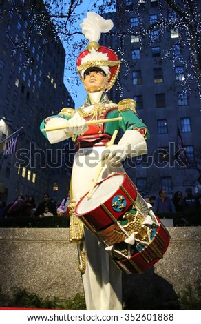 NEW YORK CITY- DECEMBER 15, 2015: Wooden soldier drummer Christmas decoration at the Rockefeller Center in Midtown Manhattan