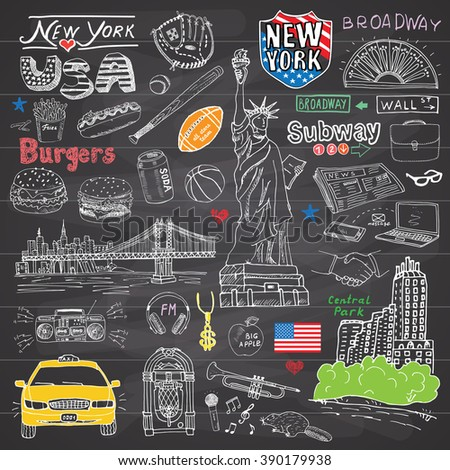 New York city doodles elements collection. Hand drawn set with, taxi, coffee, hotdog, burger, statue of liberty, broadway, music, coffee, newspaper, manhattan bridge, central park, on chalkboard. - stock photo