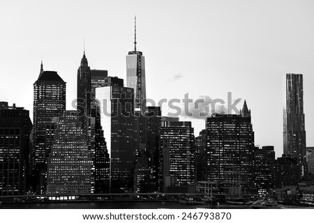 New York City downtown cityscape in black and white.