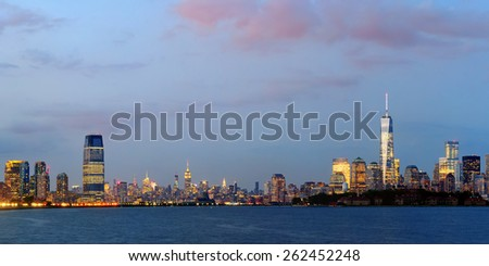New York City downtown skyline panorama at blue hour - stock photo