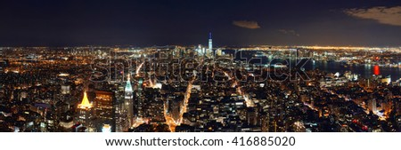 New York City downtown skyline panorama night view.