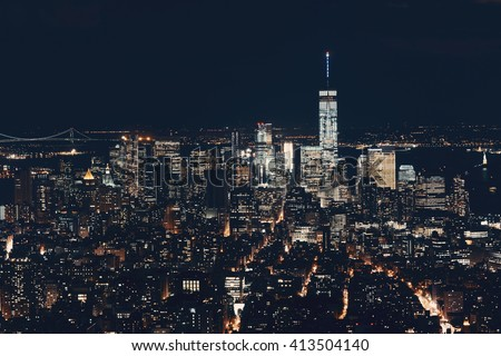 New York City downtown skyline view at night.