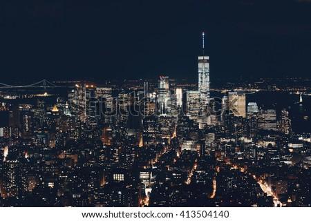 New York City downtown skyline view at night. - stock photo