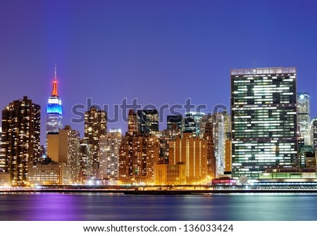 New York city famed skyline at Midtown Manhattan