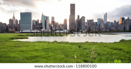 New York City fantasy skyline - stock photo