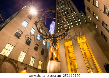 NEW YORK CITY - FEB 11: Atlas statue at Rockefeller Center in New York, NY on February 11, 2015. The statue was built by Lee Lawrie in 1937 and is the largest statue at the Rockefeller complex.