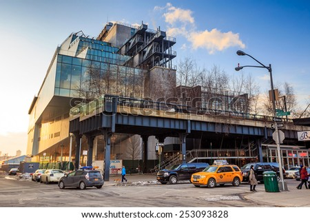 NEW YORK CITY - FEB 13: High Line Park in NYC seen on February 13, 2015. The High Line is a public park built on an historic freight rail line elevated above the streets on Manhattans West Side. - stock photo