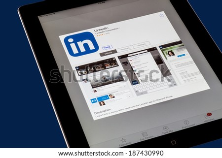 NEW YORK CITY - FEB 3, 2014: iPad opened to LinkedIn App.  LinkedIn is a professional networking site that was founded in 2002. - stock photo