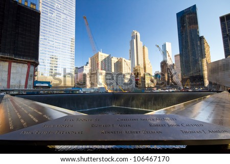 NEW YORK CITY - FEB. 3: NYC's 9/11 Memorial at World Trade Center Ground Zero seen on Feb. 3, 2012. The memorial was dedicated on the 10th anniversary of the Sept. 11, 2001 attacks. - stock photo