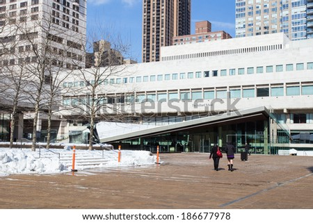 NEW YORK CITY -  FEB. 10, 2014: The Juilliard School  in New York City at Lincoln Center.  Juilliard is a music conservatory for performing arts in Manhattan.  - stock photo