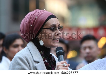 "NEW YORK CITY - FEBRUARY 19 2017: A crowd estimated at 10,000 joined NYC Mayor Bill de Blasio in declaring: ""Today I am a Muslim"" during a rally in Times Square."