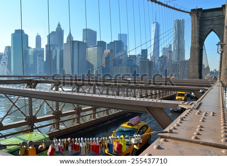 NEW YORK CITY - FEBRUARY 22, 2015: Brooklyn Bridge and Manhattan skyline in the winter, New York City, USA. - stock photo