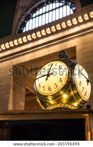 NEW YORK CITY - FEBRUARY 21, 2015:  Historic clock seen inside main concourse at Grand Central Terminal in midtown Manhattan. - stock photo