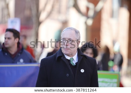 NEW YORK CITY - FEBRUARY 6 2016: Mayor Bill de Blasio and members of the NYC city council marched in Sunnyside's annual St. Pat's For All parade. NYC comptroller Scott Stringer