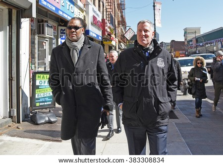 NEW YORK CITY - FEBRUARY 27 2016: Mayor de Blasio & city council member Robert Cornegy to visit businesses in Bed-Stuy to promote the city's tenant rights assistance laws.