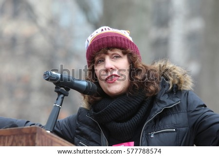 NEW YORK CITY - FEBRUARY 11 2017: Several hundred Planned Parenthood supporters rallied in Washington Square Park to protest proposed cuts to the service. Lizz Winstead of Lady Parts Justice League