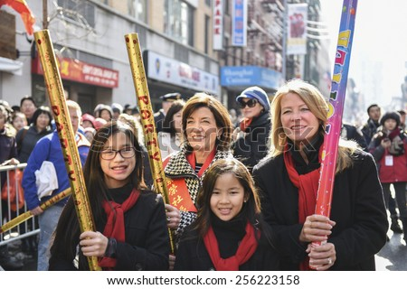 NEW YORK CITY - FEBRUARY 22 2015: the Chinese Lunar New Year was celebrated with a parade along Mott Street in Little Italy to mark the year of the sheep.