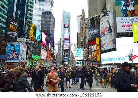 NEW YORK CITY - FEBRUARY 16 : Times Square pictured on February 16, 2013 in New York, New York. Times Square was originally named Longacre Square until 1904.
