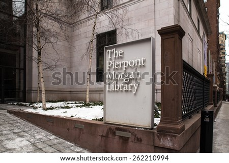 NEW YORK CITY -  FEBRUARY 21, 2015: View from sidewalk of historic Pierpont Morgan Library museum in Midtown Manhattan. - stock photo