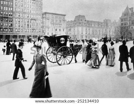 New York city, Fifth Avenue at 58th Street in Manhattan, photograph by Byron, ca. 1898 - stock photo