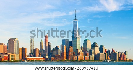 New York City, financial business buildings in Manhattan on a late summer afternoon - stock photo