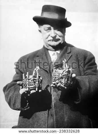 New York City Fire Department Inspector Owen Eagan (1857-1920) and bombs. Eagan was famous for defusing over 7,000 anarchist bombs during his long career. 1919 - stock photo