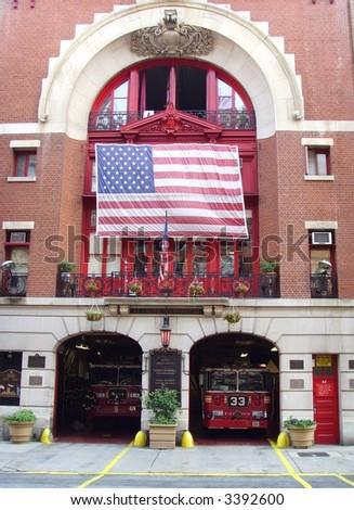 New York City Fire Hall and Trucks... - stock photo