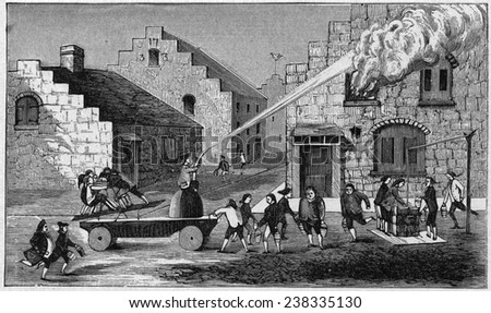 New York City. Firemen at work, 1733. Firemen on vehicle pump water through hose onto burning building and bring water from well in buckets and put it into vehicle. Engraving, 1887 - stock photo