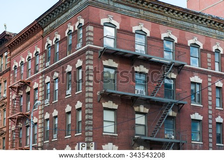 New York City Historic District Architectural Tours: Marvellous vintage buildings from different epoch and styles conserved for the tourist to see.  - stock photo