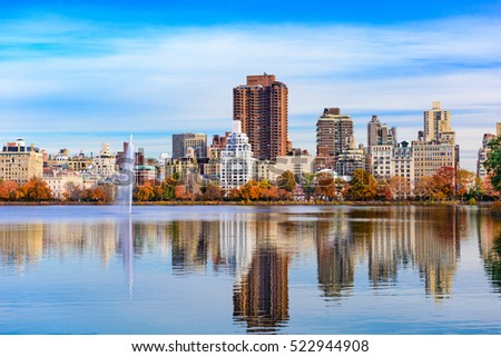 New York City in Central Park at the reservoir during autumn.