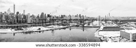 New York City in Winter, panoramic image - stock photo