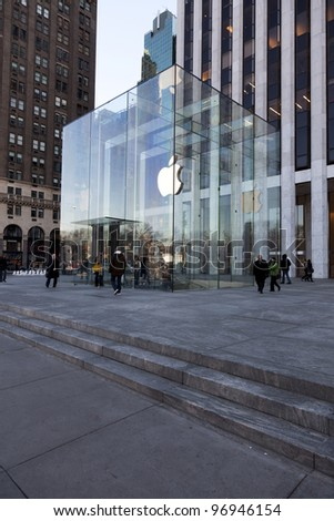 NEW YORK CITY - JAN 9: Apple Flagship Store Glass Cube on 5th Avenue in New York City, on January 9, 2012. It has received numerous architectural awards like the Award of Excellence for Design. - stock photo