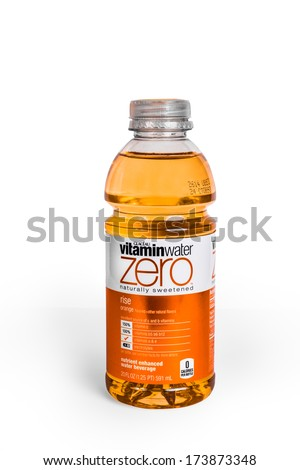 NEW YORK CITY - JAN. 21, 2014:  Bottle of flavored Vitaminwater brand water on white background. Powerade is a line of energy enhanced water manufactured and distributed by Energy Brands. - stock photo