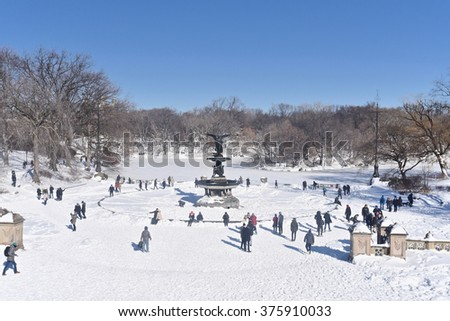 New York City, Jan 24, 2016: Central Park after a snowstorm.