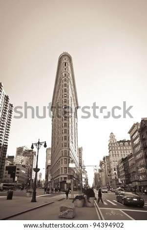 NEW YORK CITY - JAN 24 : Flat Iron building facade on January 24, 2010 in New York City. Completed in 1902, it is considered to be one of the first skyscrapers ever built. - stock photo