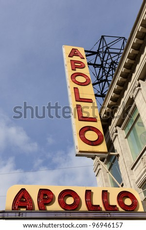 NEW YORK CITY - JAN 8: Sign outside of Apollo Theater on January 8, 2012 in Harlem, NYC. It's one of the oldest and most famous music halls and listed on the National Register of Historic Places.