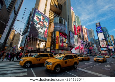 NEW YORK CITY -  JAN 10: Times Square, and Broadway Theaters with animated LED signs, is a symbol of New York City and the United States, Janyary 10, 2013 in Manhattan, New York City. USA. - stock photo