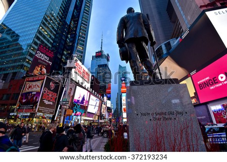 New York City, JAN 20, 2016: Times Square, featured with Broadway Theaters and animated LED signs. - stock photo