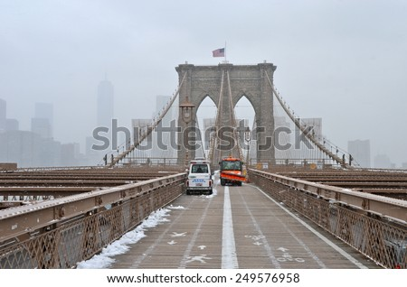 New York City - January 26, 2015: Brooklyn Bridge in the winter, New York City, USA.