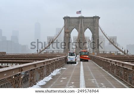 New York City - January 26, 2015: Brooklyn Bridge in the winter, New York City, USA.  - stock photo