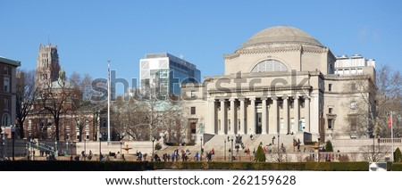 NEW YORK CITY -22 JANUARY 2015- Founded in 1754, the Ivy League private research university of Columbia University, located in New York City, was ranked #4 college by US News & World Report in 2015. - stock photo